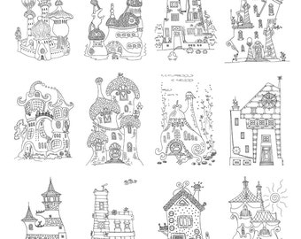 Fantasy Houses colorings postcards