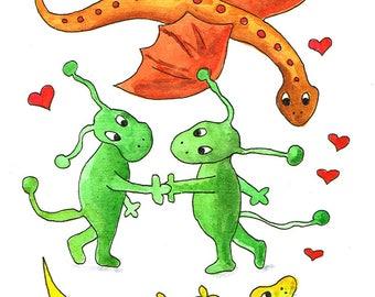 Love - Dragon & Salamander. Valentine's postcard