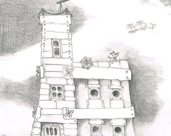 Steampunk house. Fantasy pensil drawing