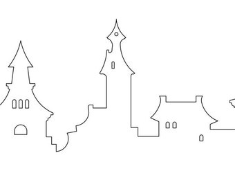 Fantasy Town - outline - Vector file in pdf and dwg