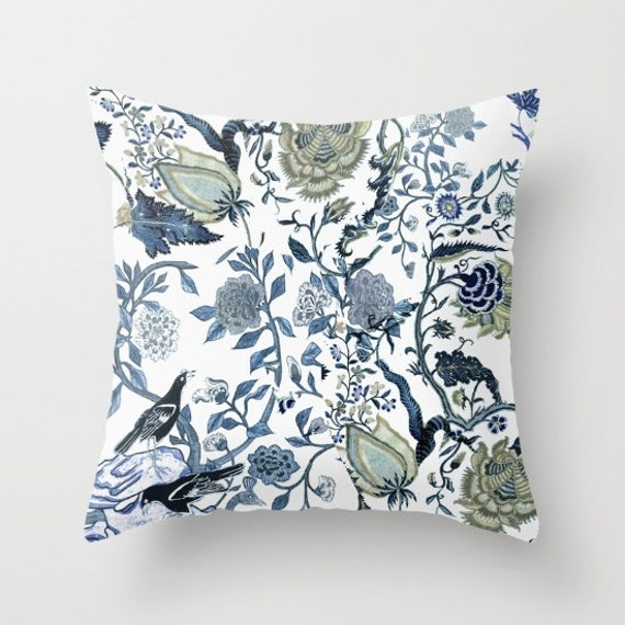 Chinoiserie pillow cushion blue and