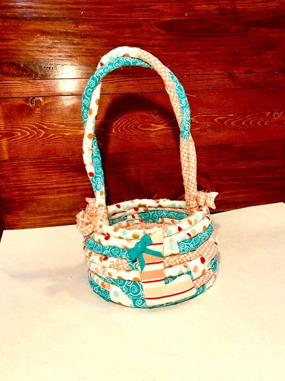 Custom Easter Basket | Personalized Basket | Fabric Rope Basket | Egg Hunt bag