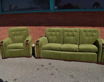 1930u0027s Art Deco Green Velvet Sofa And Chair Set