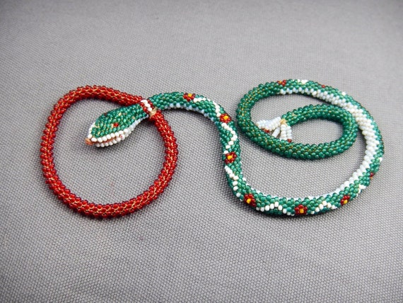 antique beadwork snake collectable necklace, greek