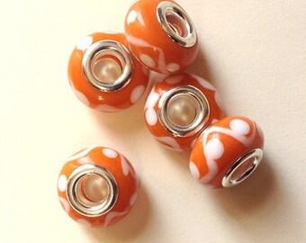 Lot 4 Perles Rondes en Verre Lampwork façon Murano 12mm Rouge