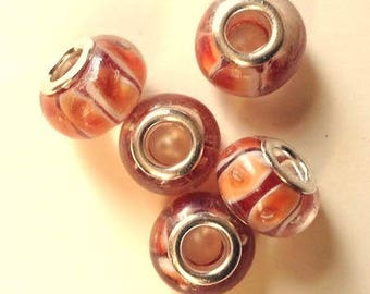 Set of lampwork glass, orange-red, 15mm beads