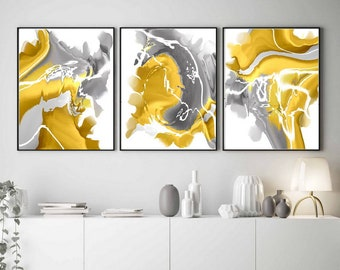 Mustard Yellow Gray Wall Art Abstract Painting Set of 3 Prints Downloadable Prints Yellow Modern Abstract Large Wall Art Contemporary Art