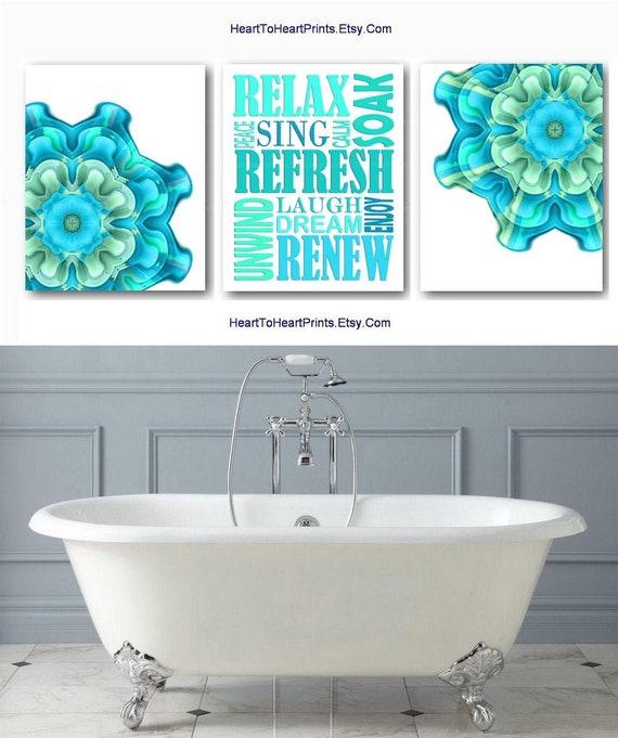 Teal Bathroom Set Of 3 Prints Green Bathroom Wall Art Teal Etsy