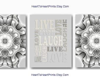 Gray Wall Art Silver Gray Wall Decor Gray Abstract Geometric Art Prints Rustic Gray Home Decor Live Love Laugh Art Set of 3 Mandala Pictures