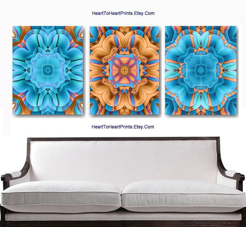 Blue Orange Wall Art Turquoise Brown Wall Decor Teal Rustic Etsy