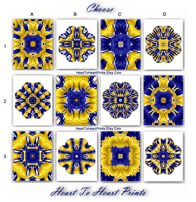 Mustard Yellow Navy Blue Floral Art Abstract Flower Print Set Etsy