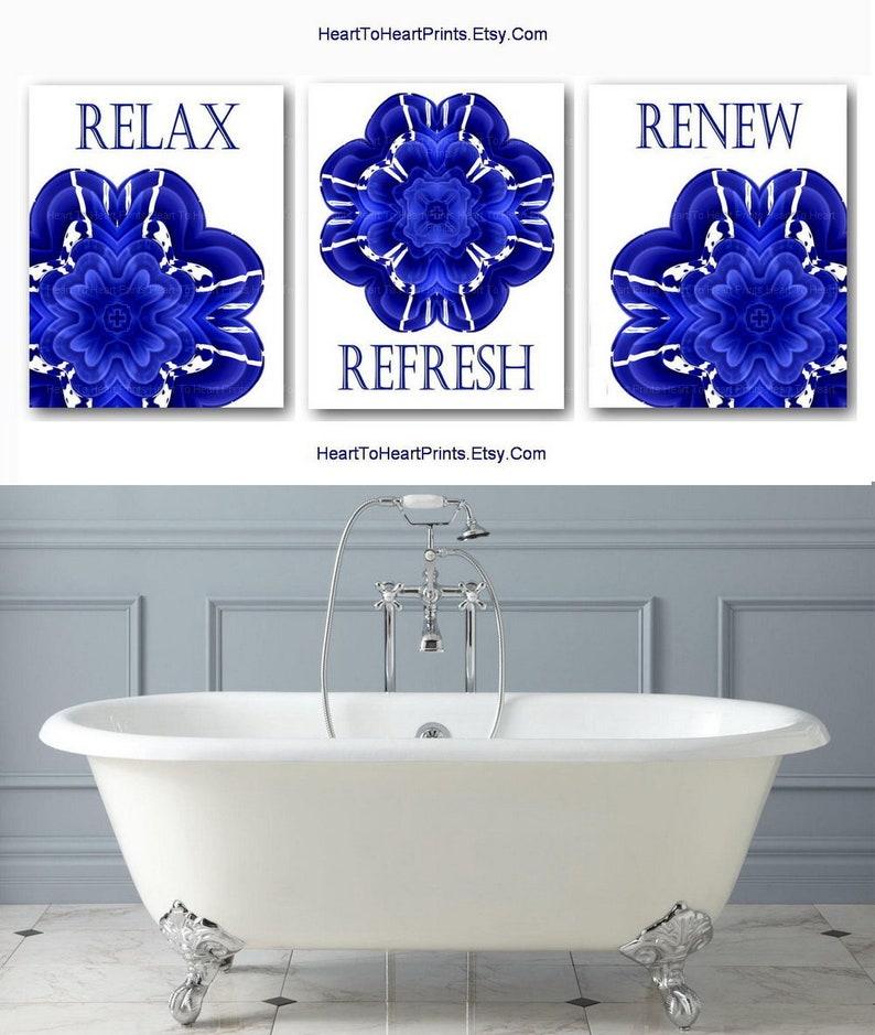 Cobalt Blue Bathroom Wall Art Printable Bathroom Decor Navy Blue Bathroom Prints Instant Download Bathroom Set Of 3 Bathroom Rustic Decor