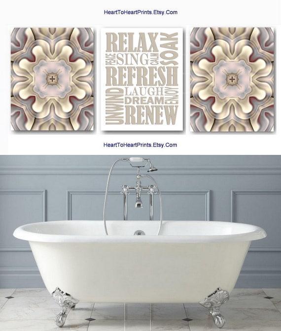 Gray Bathroom Wall Art Prints Set Of 3 Taupe Beige Bathroom Etsy