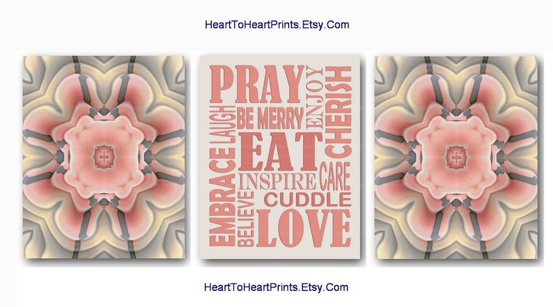 Coral Kitchen Wall Art Coral Beige Kitchen Decor Peach Gray Dining Room Set  Of 3 Eat Pray Love Floral Rustic Kitchen Decor Coral Kitchen Art