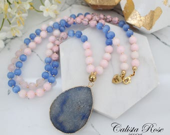 Blue and pink necklace Pink Beaded Gemstone necklace Blue Agate necklace Rose quartz necklace Long pink Necklace - Rose Quartz Serenity