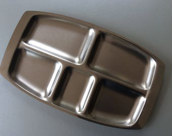 1960s Brushed Steel Hors D'oeuvres Tray, Serving Dish