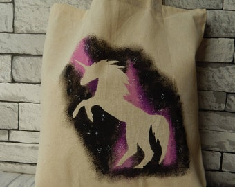 Hand painted Unicorn recycled tote bag,shopping,market,craft,sewing,sport,gift for her
