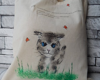 Hand painted cat tote bag, natural recycled cotton,canvas shopping bag