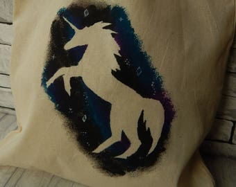 A hand painted Unicorn recycled tote bag,shopping,market,sewing,craft,sport,gift for her