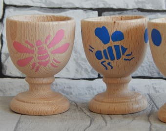 Wooden hand painted egg cup, kitchen essentials,breakfast equipment,child egg cups