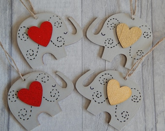 Hand painted Wooden hanging grey Elephant/Red and Gold Heart Elephant/wall hanging/decoration/gift tags