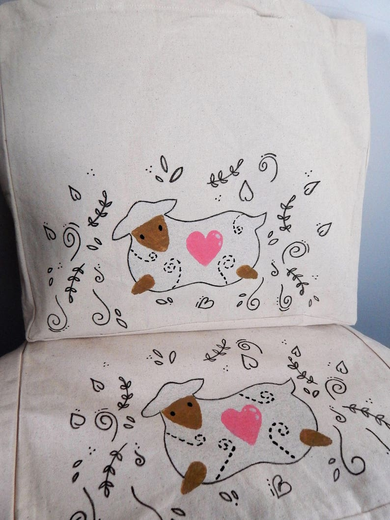 Hand painted Large canvas Sheep tote bag,Reuseable Farmers market,Shopping Bag.