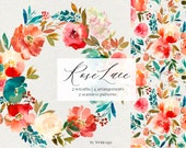 Rose Lace Red Teal Watercolor Floral Seamless Patterns Fall Flowers PNG Wreaths Bundles Clipart Roses Scarlett White Turquoise Arrangements
