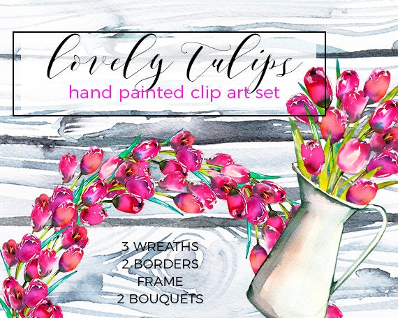 Floral Wreath Border Clipart Watercolor Pink Tulips Spring ...Tulips Page Borders Clipart Free