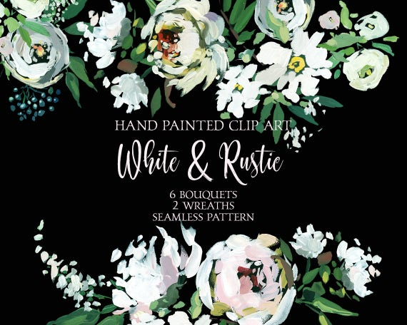 White peony flowers hand painted clipart png bouquets wreaths etsy image 0 mightylinksfo