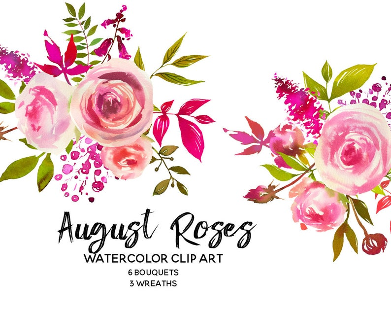 Pink Peach Roses Watercolor Flowers Peonies Clipart Set Etsy