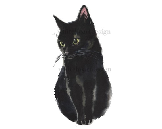 Black Cat Clipart Hand Painted Watercolor Digital Print Files Etsy