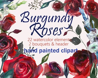 Burgundy Red Scarlett Roses PNG Wedding Flowers Invitation Clipart Watercolor Digital Instant Download Images Pictures Art Commercial Use