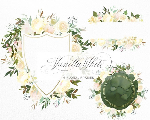 Vanilla White Floral Frames Flowers Green Leaves Clipart Peony | Etsy