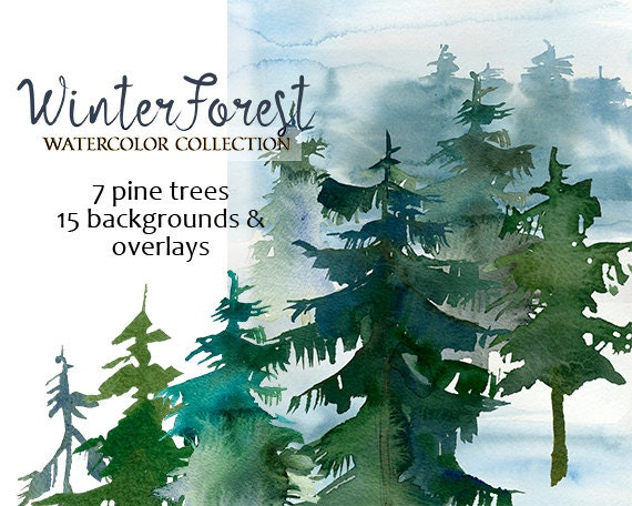 Christmas Images Free For Commercial Use.Pine Trees Watercolor Clipart Fir Trees Png Christmas Winter Forest Landscape Clip Art Free Commercial Use Diy Forest Wedding Invitation