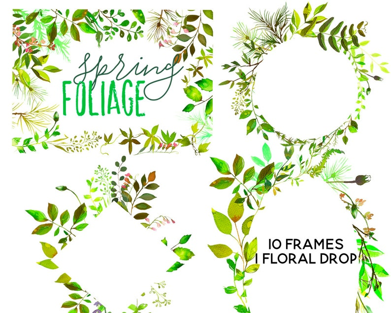 Watercolor Green Leaves Wreaths Elements Clipart Png Leafy Etsy