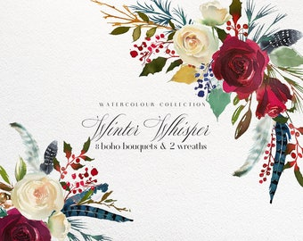 Boho Bordo Red White Blue Watercolor Flowers Clipart Burgundy Red Ivory Creme Christmas Florals PNG Illustrations Peony Bouquets Wine Color