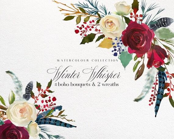 boho bordo red white blue watercolor flowers clipart burgundy etsy