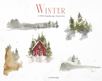 Winter Landscape PNG Overlays Christmas Cards Fir Trees Red Cabin Little House Snowy Image Printable Wall Art Clip Art Holidays Template