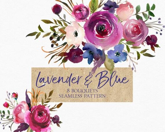 Lila Rosa Blau Violett Pflaume Aquarell Blumen Clipart Set Etsy