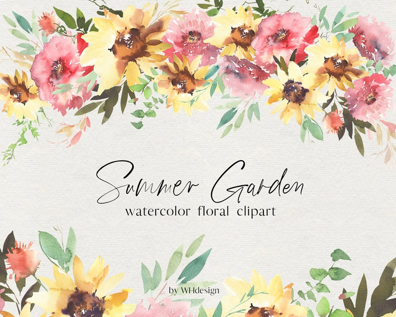 Summer Garden Watercolor Floral Bouquet Wreaths Clipart image 0