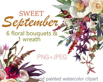 Red Scarlett Roses Anemone Peonies Autumn Floral Bouquets PNG Wedding Flowers  Clip art Watercolor Digital Instant Download Images Pictures
