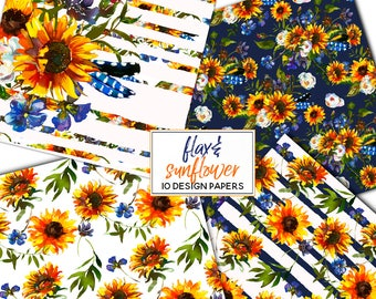 Boho Navy Yellow Floral Digital Paper Sunflowers Flax Watercolor Flower Seamless Pattern Design Background Instant Download