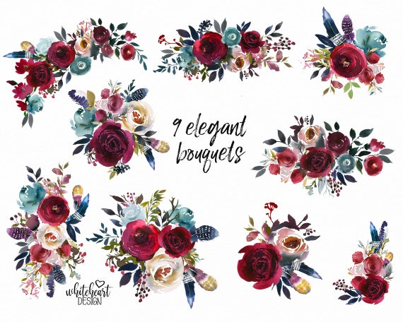 Boho Bordo & Navy Watercolor Floral Clipart Burgundy Red ...