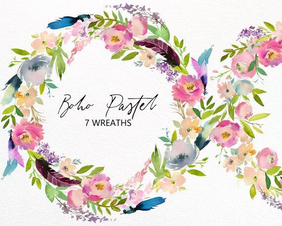Boho Pastel Watercolor Floral Wreath Frames Flowers Clipart   Etsy