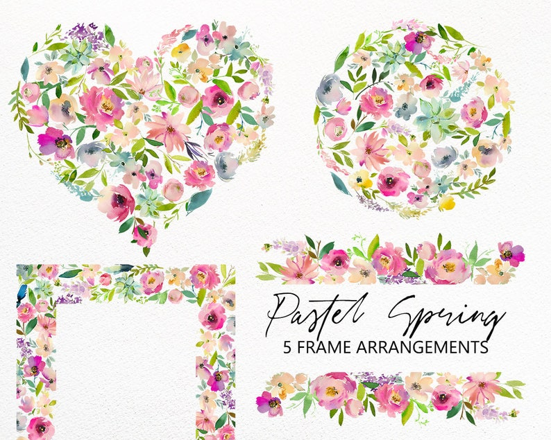 Pastel Spring Floral Frames Clipart Png Flowers Pink Purple Peonies Roses Succulents Watercolor Clip Art Wedding Invitation Template Art