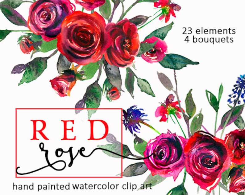Red Roses Watercolor Digital Floral Clipart Bourgundy Purple Flowers  Bouquets PNG Wedding Clip Art Instant Download Free Commercial Use