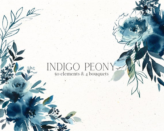 Indigo Peony Watercolor Floral Elements Clipart Navy Blue