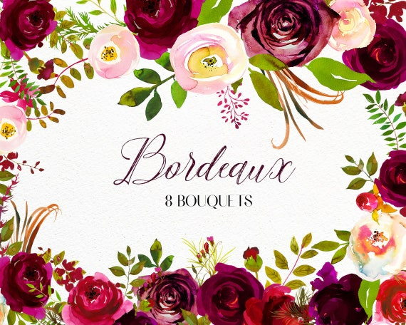 Bordo flowers watercolor clipart burgundy white red florals etsy image 0 mightylinksfo