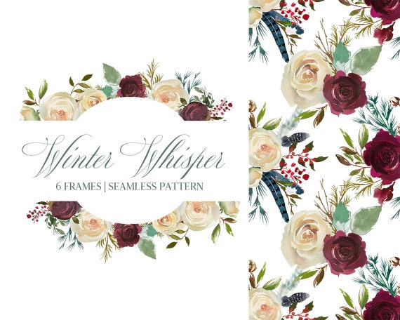 Boho Chick Burgundy & White Watercolor Floral Frames Clipart | Etsy
