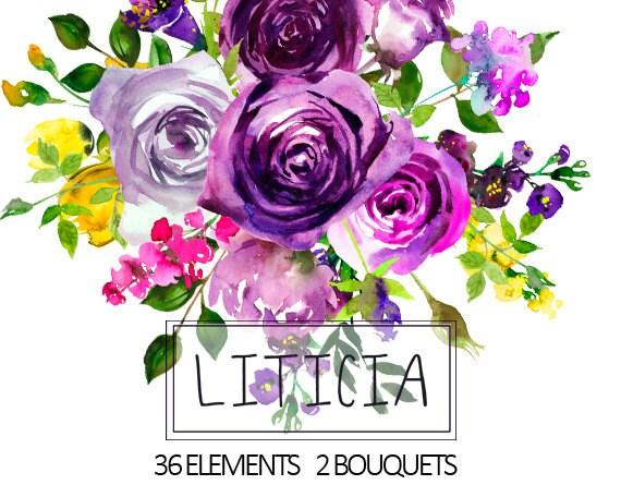 Purple watercolor flowers clipart floral bouquets wreath etsy image 0 mightylinksfo